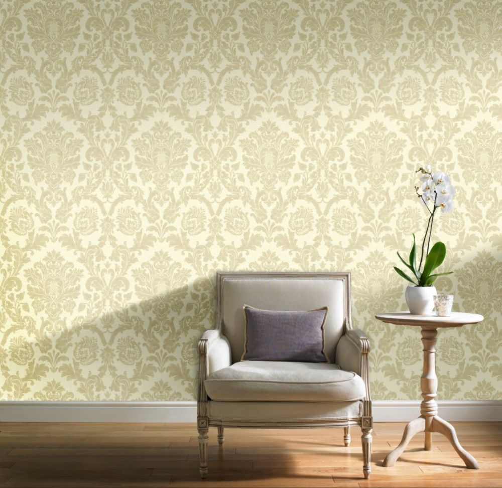 Grandeco Kensington Damask Cream/Gold V.416-04 Wallpaper